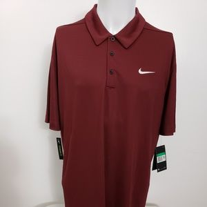 Nike Dri Fit Solid Polo XL Maroon White Golf